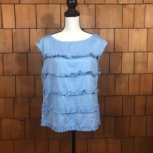💰3/$20💰 Talbots blue sleeveless ruffle blouse